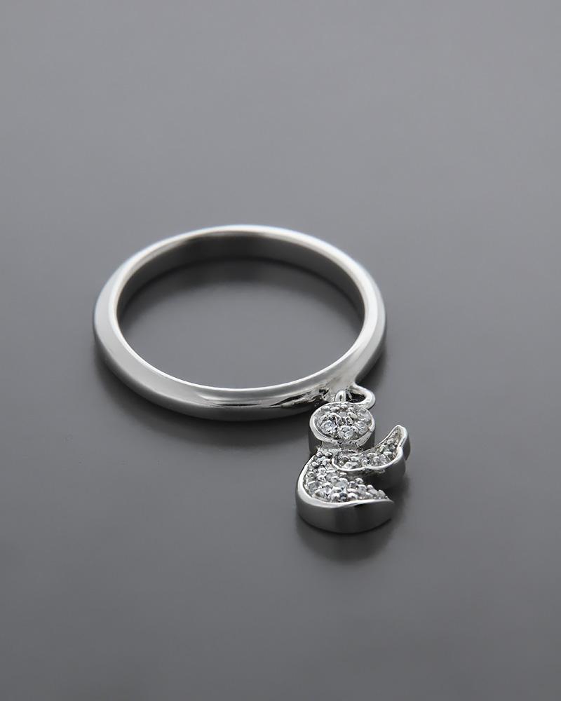 Εικόνα του προϊόντος Δαχτυλίδι 'Aγγελος ασημένιο 925 με Ζιργκόν
