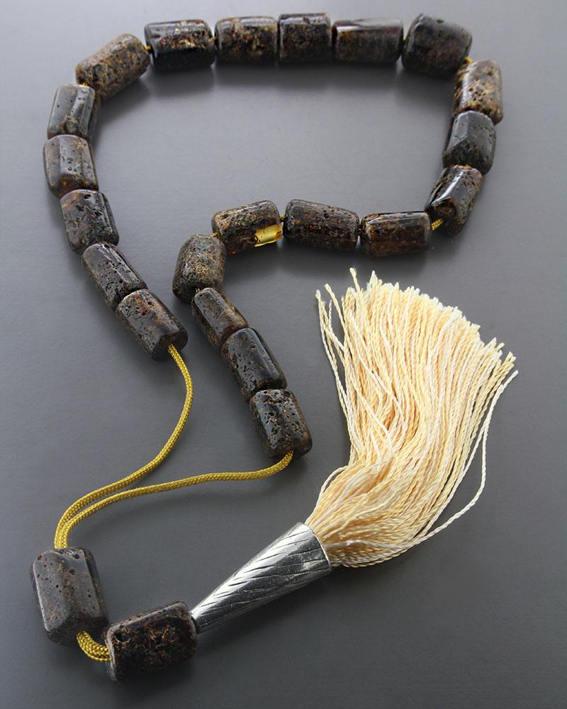 Κομπολόι από Κεχριμπάρι ορυκτό & μεταξωτή φούντα   δωρα κομπολόγια