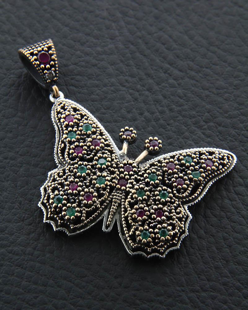 Κρεμαστό πεταλούδα ασημένιο με Γρανάδα & Ζαντ   γυναικα κρεμαστά κολιέ κρεμαστά κολιέ ημιπολύτιμοι λίθοι