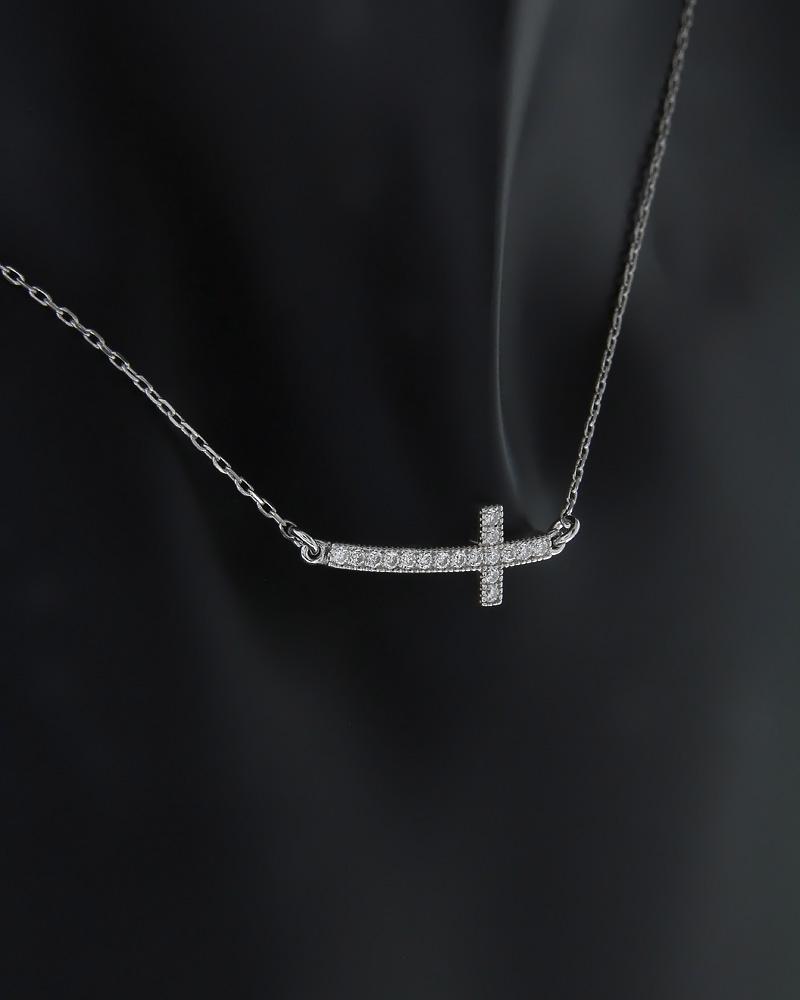 Κολιέ σταυρός ασημένιο με Ζιργκόν   κοσμηματα κρεμαστά κολιέ κρεμαστά κολιέ ασημένια