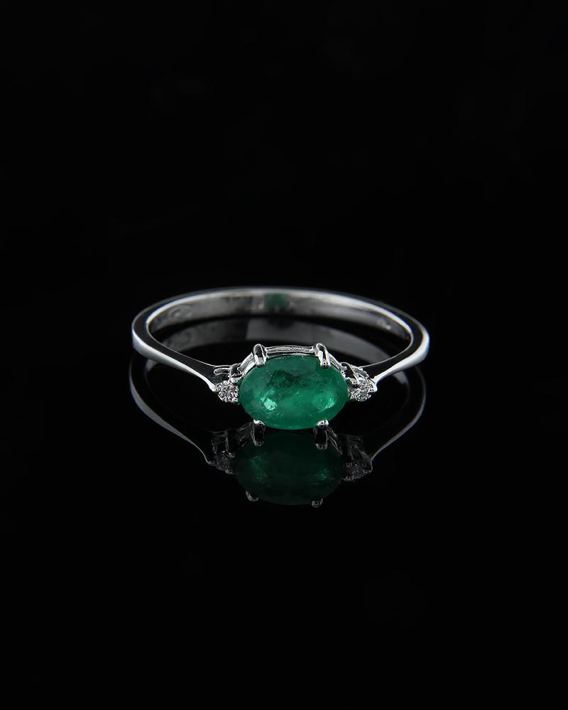 Δαχτυλίδι λευκόχρυσο Κ18 με Σμαράγδι & Διαμάντια