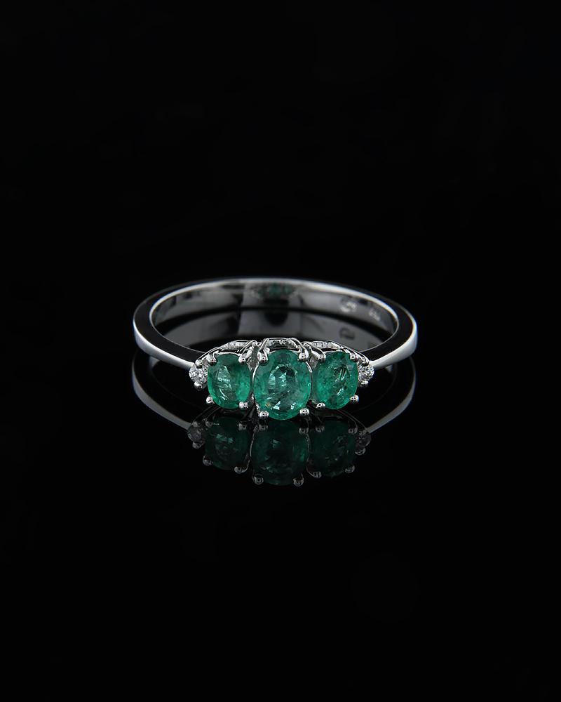 Δαχτυλίδι λευκόχρυσο Κ18 με Σμαράγδια & Διαμάντια   γυναικα δαχτυλίδια δαχτυλίδια λευκόχρυσα