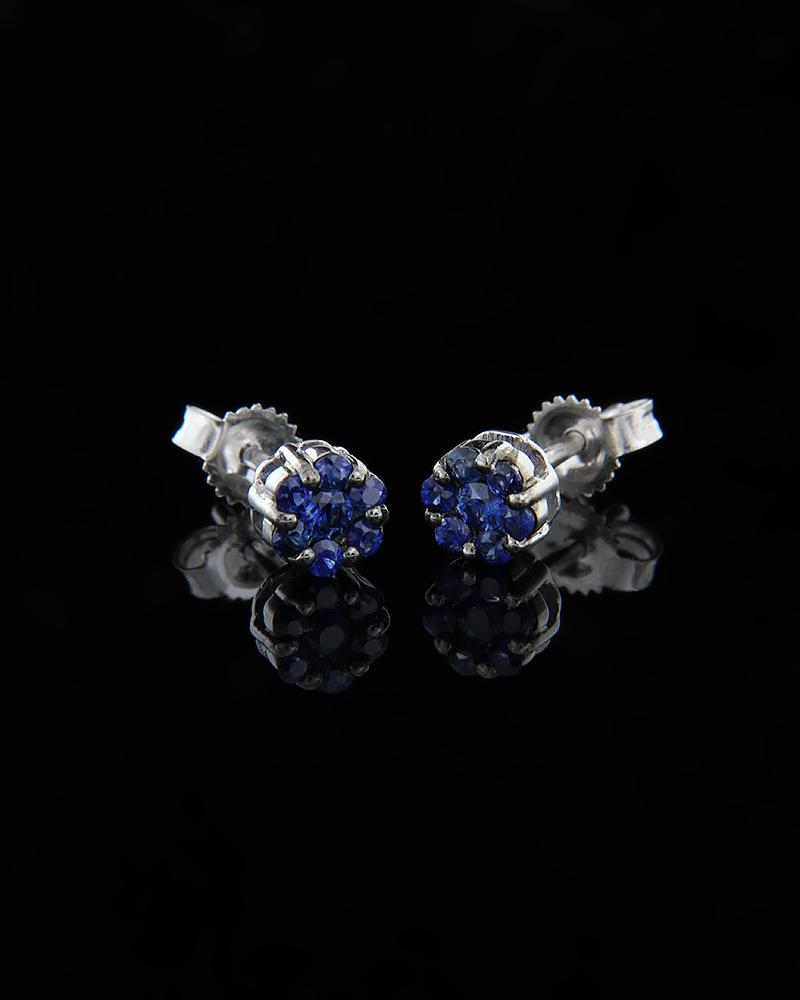 Σκουλαρίκια λευκόχρυσα Κ18 με Ζαφείρια   κοσμηματα σκουλαρίκια σκουλαρίκια με διαμάντια