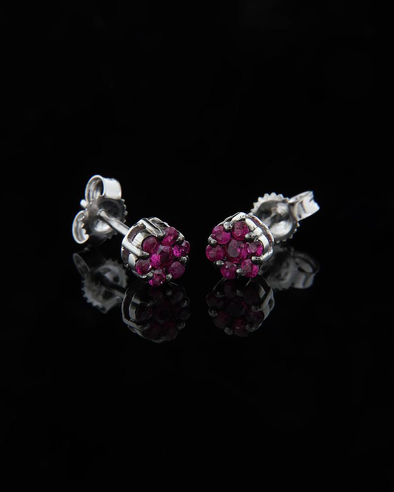 Σκουλαρίκια λευκόχρυσα Κ18 με Ρουμπίνια   κοσμηματα σκουλαρίκια σκουλαρίκια με διαμάντια