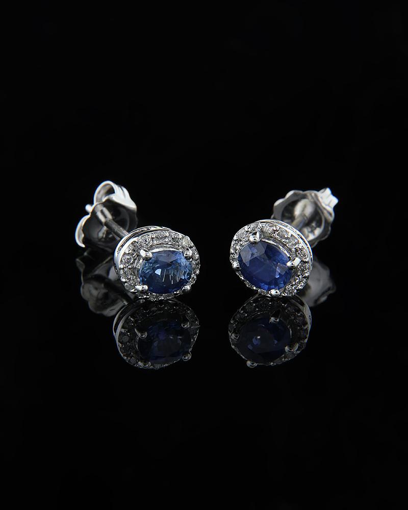Σκουλαρίκια λευκόχρυσα Κ18 με Ζαφείρια & Διαμάντια   γαμοσ νυφικό κόσμημα