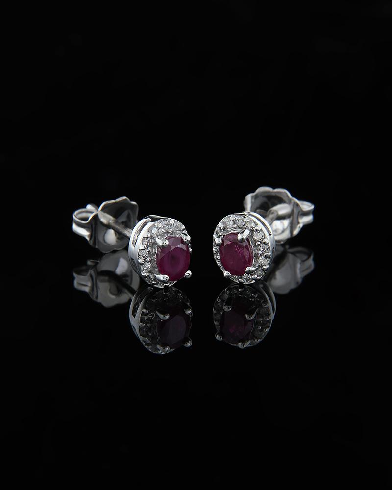 Σκουλαρίκια λευκόχρυσα Κ18 με Ρουμπίνια & Διαμάντια   γαμοσ νυφικό κόσμημα