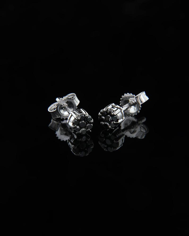 Σκουλαρίκια λευκόχρυσα Κ18 με Μαύρα Διαμάντια   γαμοσ νυφικό κόσμημα