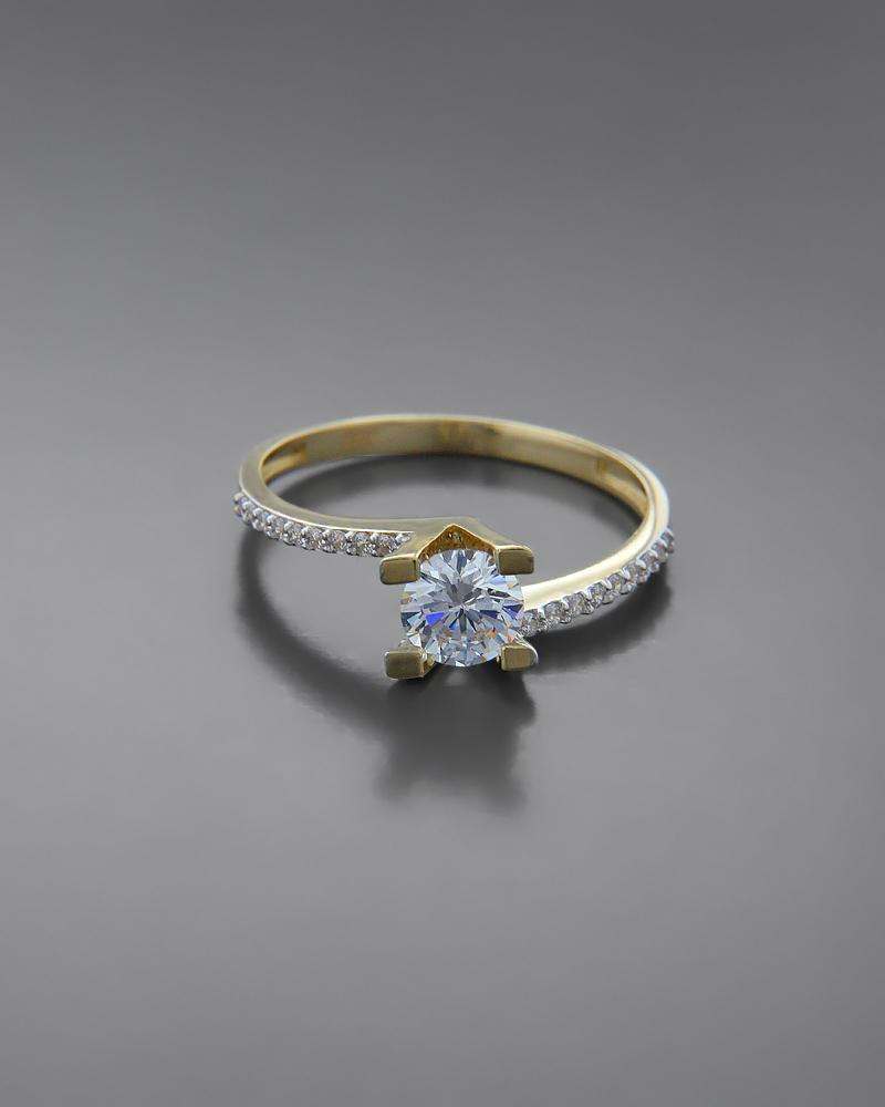 Μονόπετρο Δαχτυλίδι χρυσό Κ14 με Ζιργκόν  21e49c69107