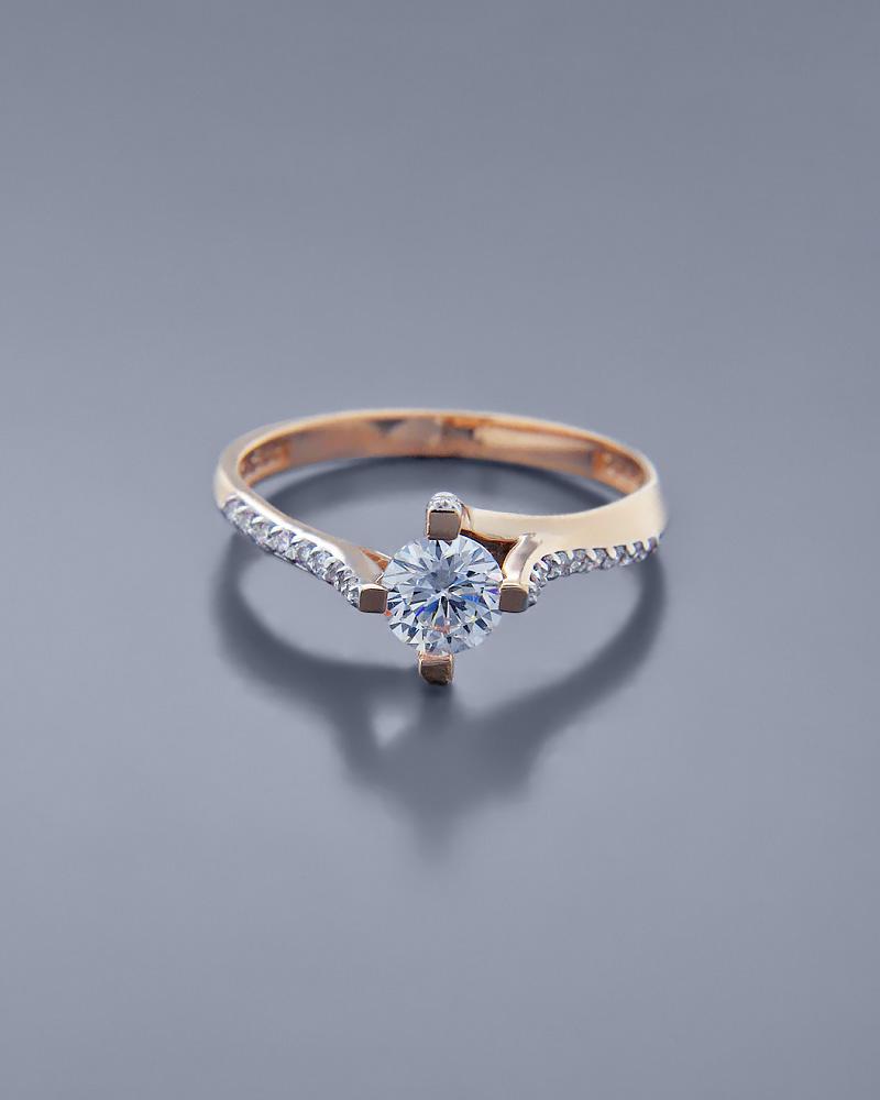 Μονόπετρο Δαχτυλίδι ροζ χρυσό Κ14 με Ζιργκόν   γαμοσ μονόπετρα μονοπετρα με ζιργκόν