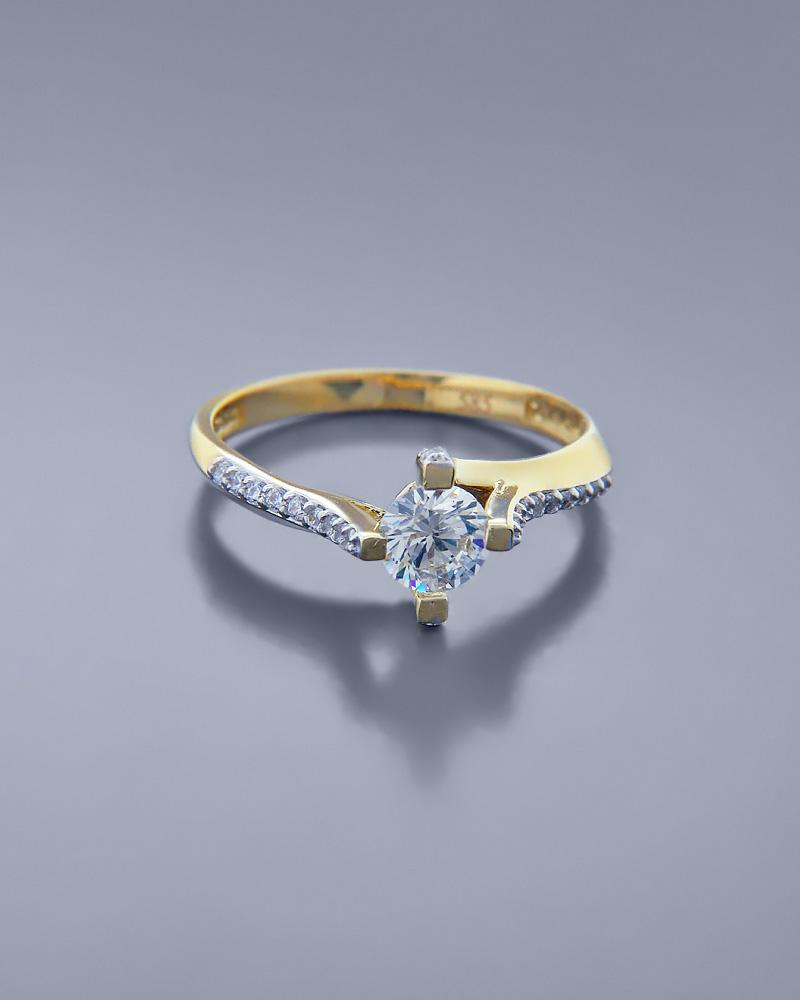 Μονόπετρο Δαχτυλίδι χρυσό Κ14 με Ζιργκόν   γαμοσ μονόπετρα μονοπετρα με ζιργκόν