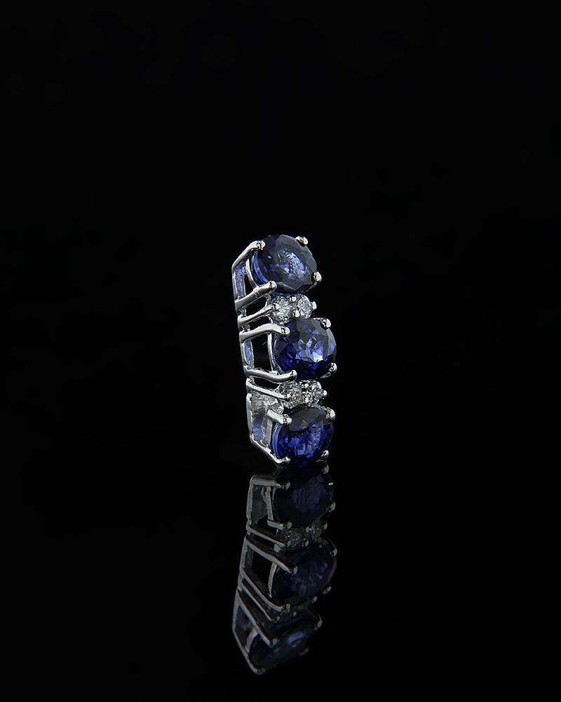 Κρεμαστό λευκόχρυσο Κ18 με Διαμάντια & Ζαφείρια   γυναικα κρεμαστά κολιέ κρεμαστά κολιέ λευκόχρυσα