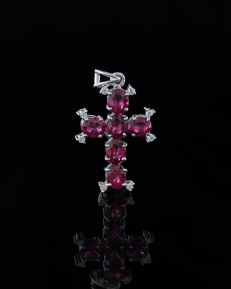 Σταυρός λευκόχρυσος Κ18 με Διαμάντια & Ρουμπίνια   παιδι βαπτιστικοί σταυροί βαπτιστικοί σταυροί για κορίτσι