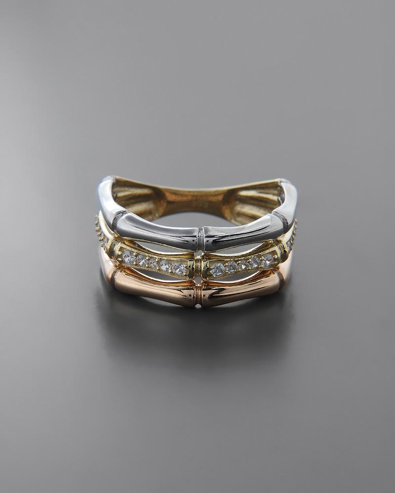 Δαχτυλίδι χρυσό, λευκόχρυσο & ροζ χρυσό Κ14 με Ζιργκόν   γυναικα δαχτυλίδια δαχτυλίδια χρυσά