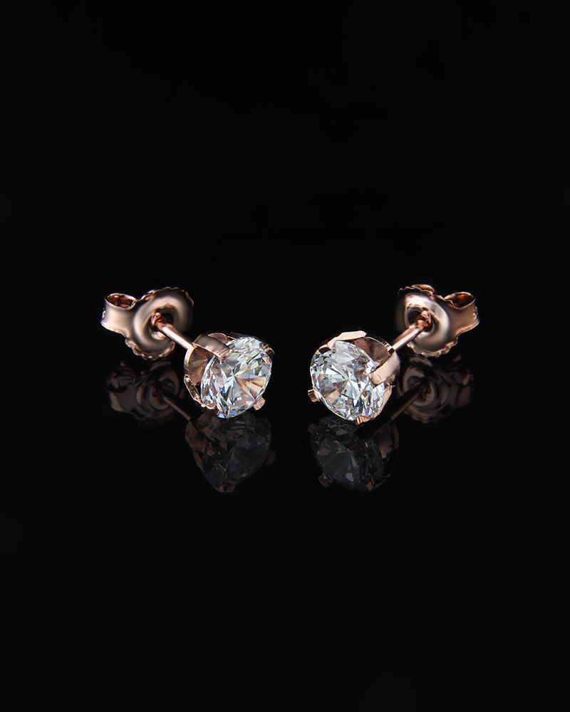 Σκουλαρίκια από ροζ χρυσό Κ14 με Ζιργκόν   γυναικα σκουλαρίκια σκουλαρίκια ροζ χρυσά
