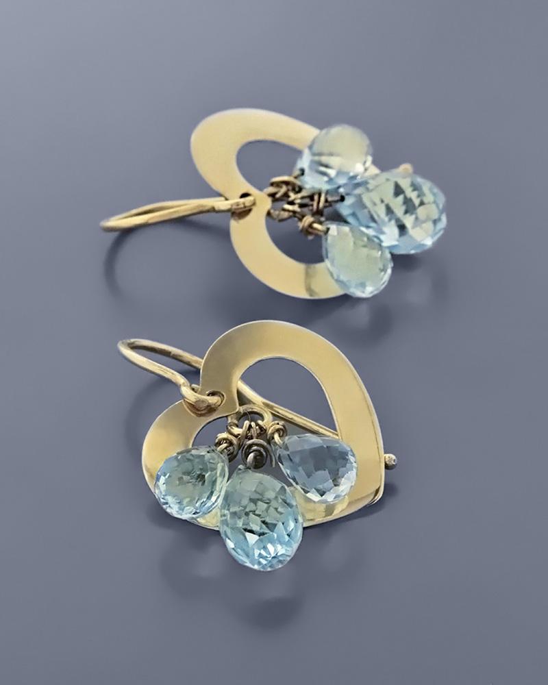 Σκουλαρίκια καρδιές χρυσά Κ14 με Τοπάζι   γυναικα κοσμήματα με καρδιές