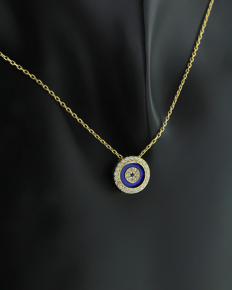 Κολιέ ματάκι Ασημένιο με Σμάλτο & Ζιργκόν   γυναικα κοσμήματα με ματάκι