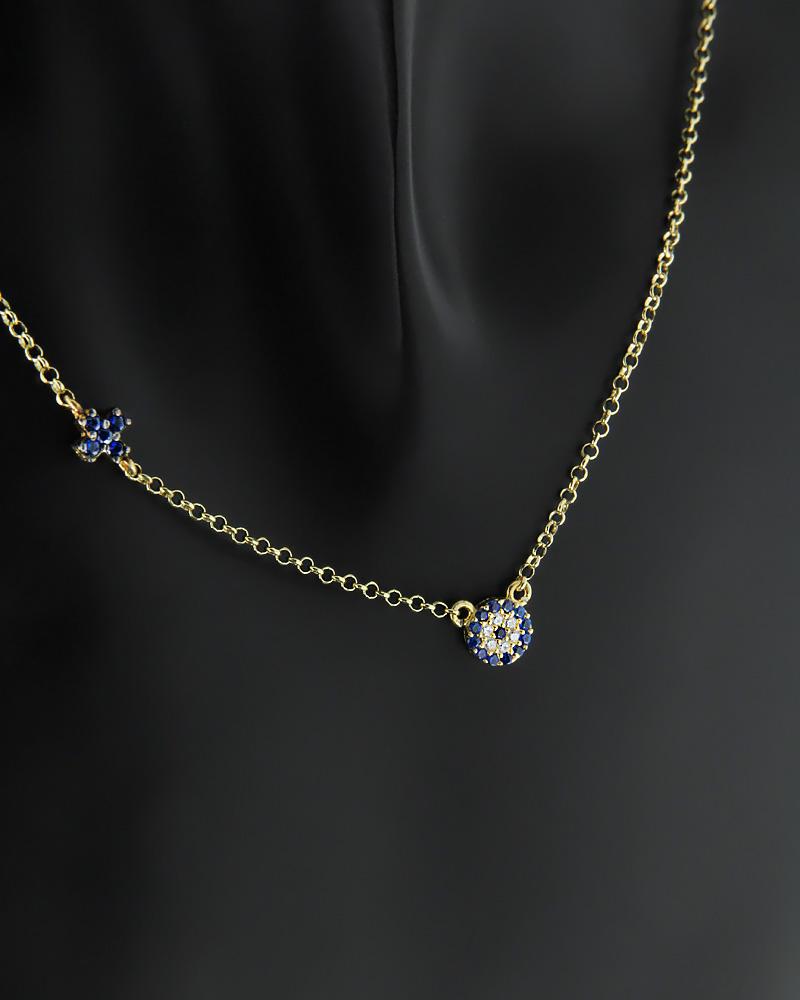 Ασημένιο κολιέ Ματάκι με Ζιργκόν   γυναικα κοσμήματα με ματάκι