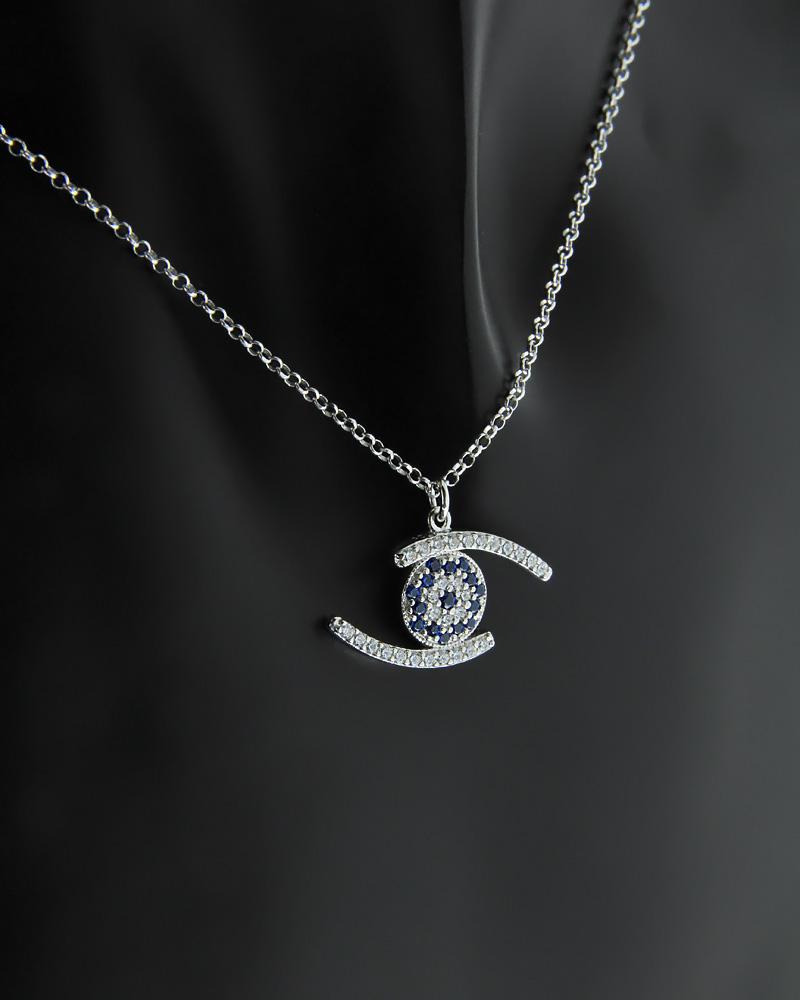 Κολιέ ματάκι ασημένιο με Ζιργκόν   γυναικα κοσμήματα με ματάκι