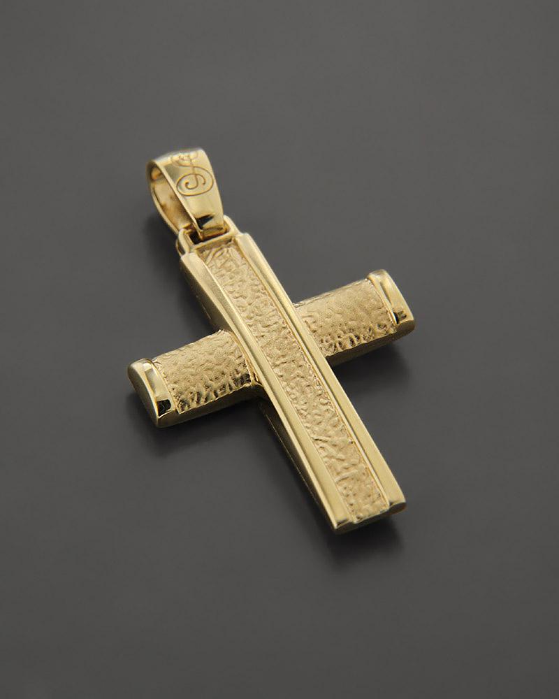 Σταυρός βάπτισης δύο όψεων χρυσός Κ14