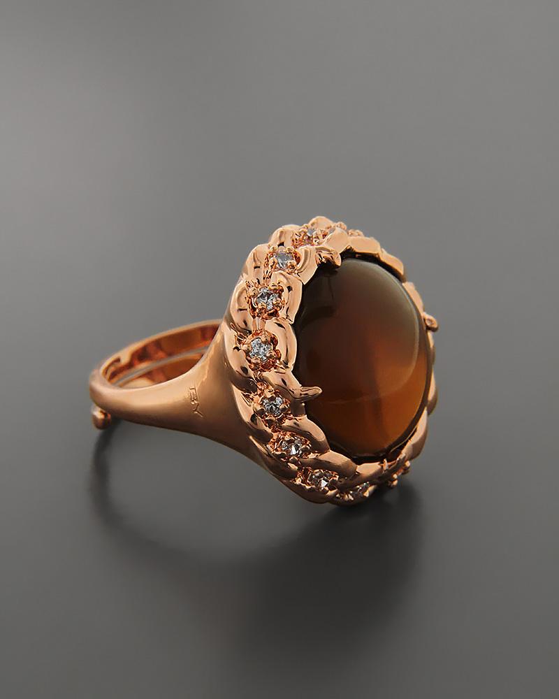 Δαχτυλίδι με Ζιργκόν & Μάτι της Γάτας   γυναικα δαχτυλίδια δαχτυλίδια ημιπολύτιμοι λίθοι