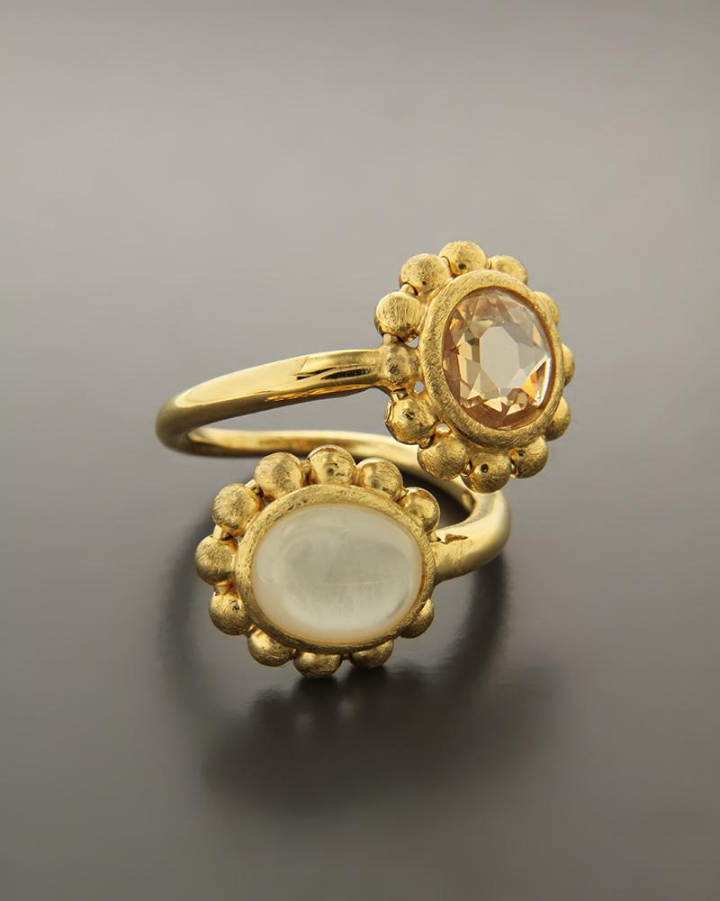 Δαχτυλίδι Ασημένιο με Quartz & Ζιργκόν   γυναικα δαχτυλίδια δαχτυλίδια ασημένια