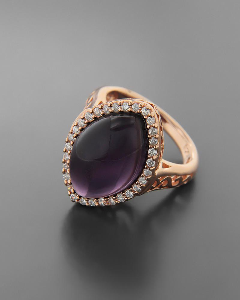 Δαχτυλίδι ασημένιο 925 με αμέθυστο & ζιργκόν