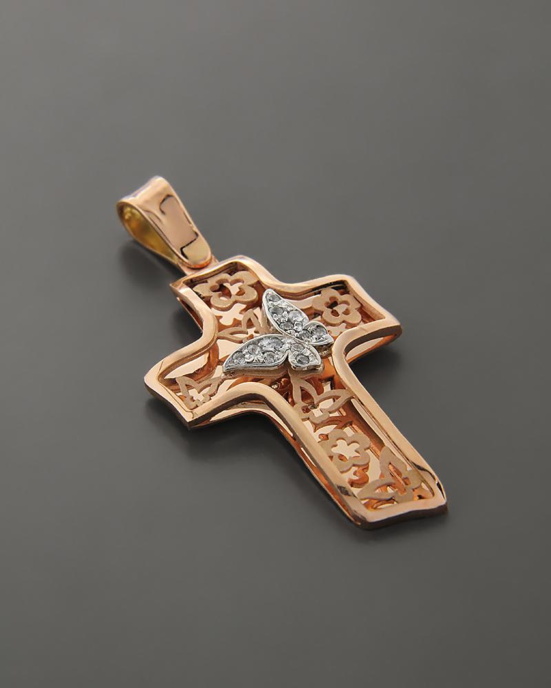 Βαπτιστικός Σταυρός Ροζ Χρυσό Κ14 με Ζιργκόν   κοσμηματα σταυροί σταυροί ροζ χρυσό