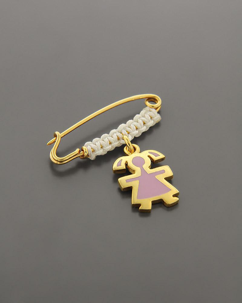 Παιδικό παραμάνα χρυσή Κ9 με Σμάλτο   κοσμηματα κρεμαστά κολιέ παιδικά φυλαχτά