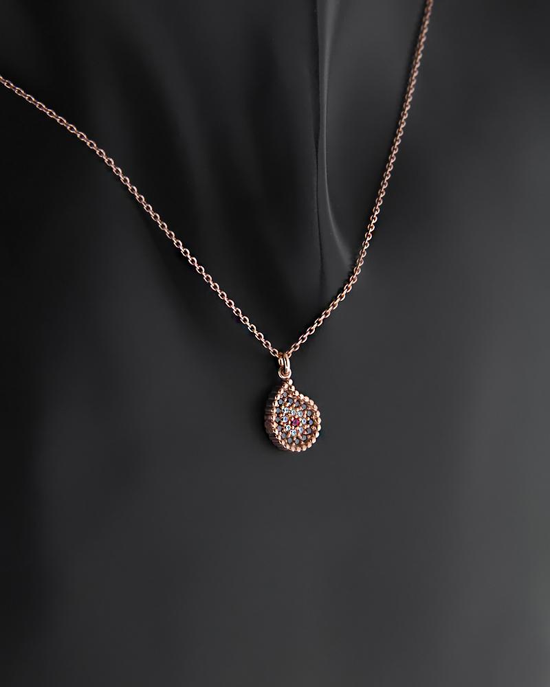 Κολιέ Ασημένιο Μάτι με Ζιργκόν   γυναικα κοσμήματα με ματάκι