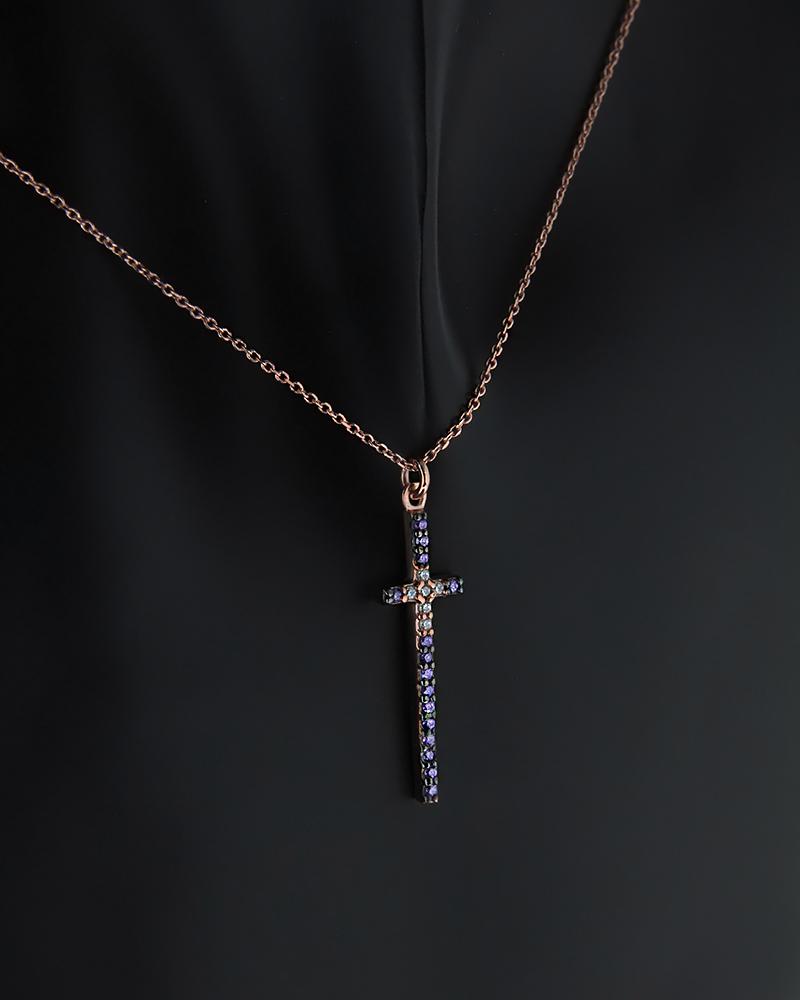 Ασημένιο Κολιέ Σταυρός με Ζιργκόν   γυναικα σταυροί σταυροί ασημένιοι