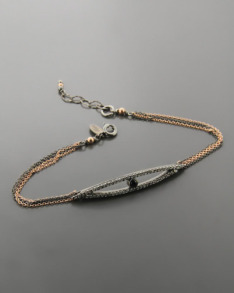 Βραχιόλι ματάκι ασημένιο με Ζιργκόν   κοσμηματα κοσμήματα με ματάκι