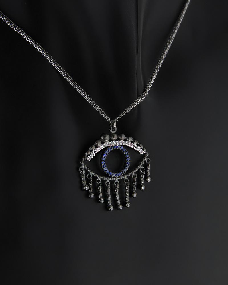 Fashion Κολιέ Ασημένιο Μάτι με Ζιργκόν   γυναικα κοσμήματα με ματάκι
