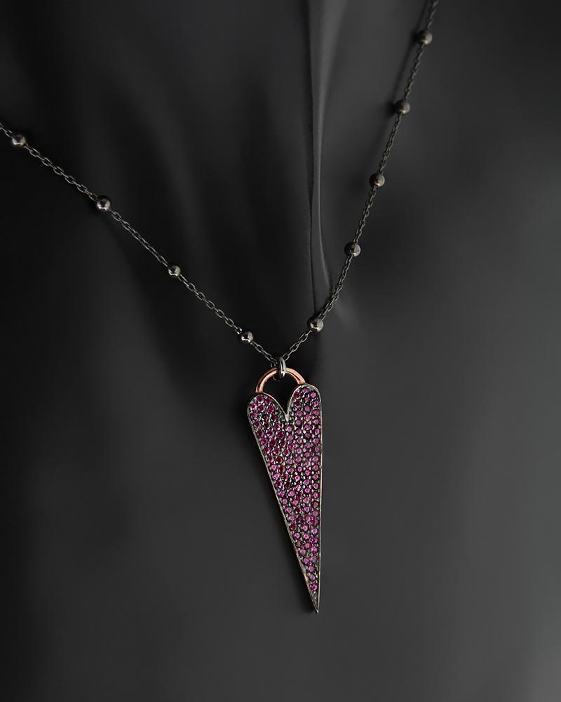 Ασημένιο Κολιέ Καρδιά με Ζιργκόν   γυναικα κοσμήματα με καρδιές