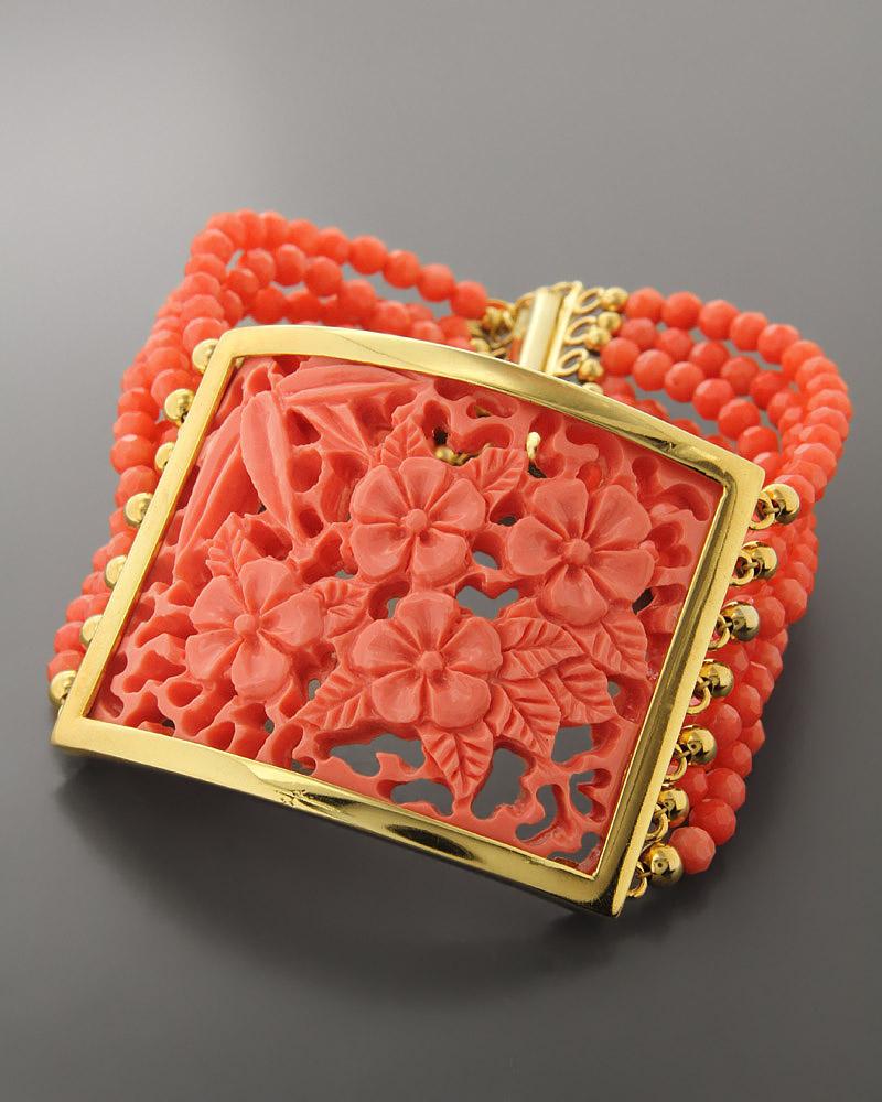 Βραχιόλι ασημένιο με Κοράλι   κοσμηματα βραχιόλια βραχιόλια ημιπολύτιμοι λίθοι