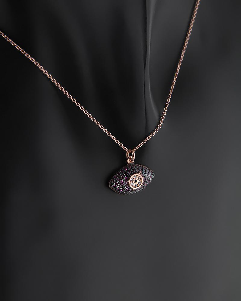 Ασημένιο Κολιέ Μάτι με Ζιργκόν   γυναικα κοσμήματα με ματάκι