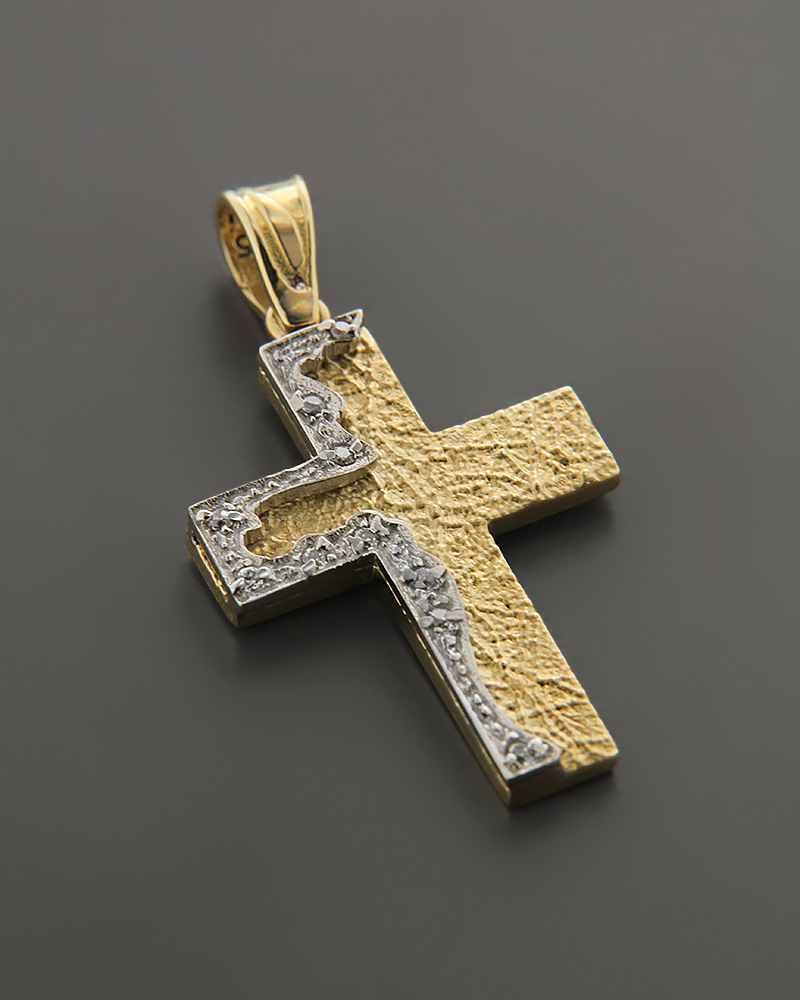 Σταυρός χρυσός και λευκόχρυσος Κ14 με ζιργκόν