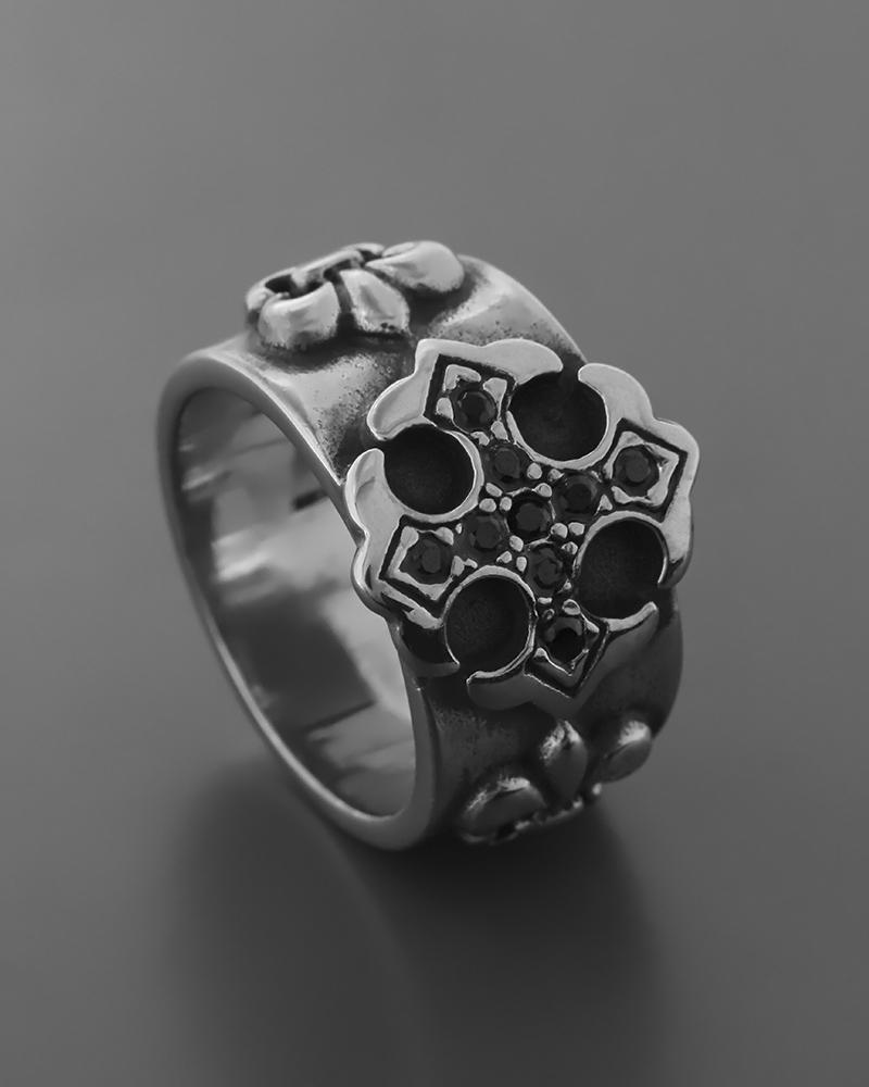 Δαχτυλίδι από ατσάλι με ζιργκόν