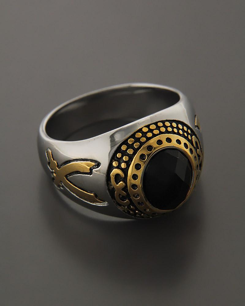 Δαχτυλίδι από ατσάλι με κρύσταλλο   κοσμηματα δαχτυλίδια δαχτυλίδια ανδρικά