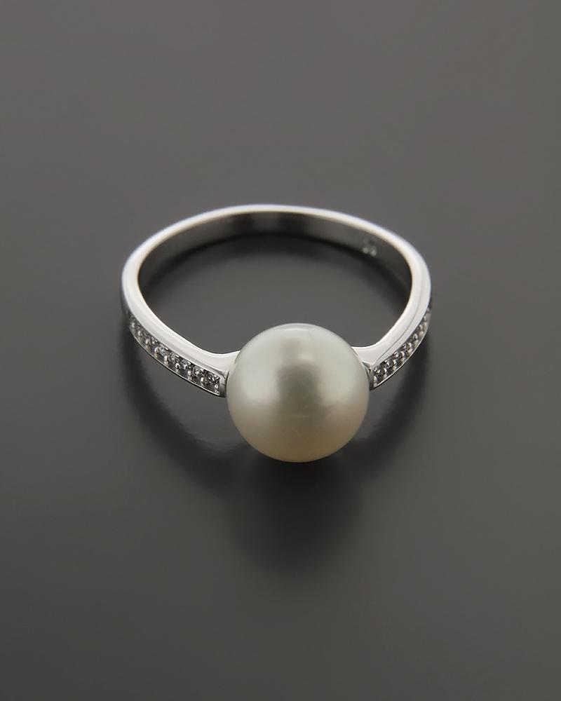 Δαχτυλίδι λευκόχρυσο Κ14 με Mαργαριτάρι & Ζιργκόν   κοσμηματα δαχτυλίδια δαχτυλίδια ημιπολύτιμοι λίθοι