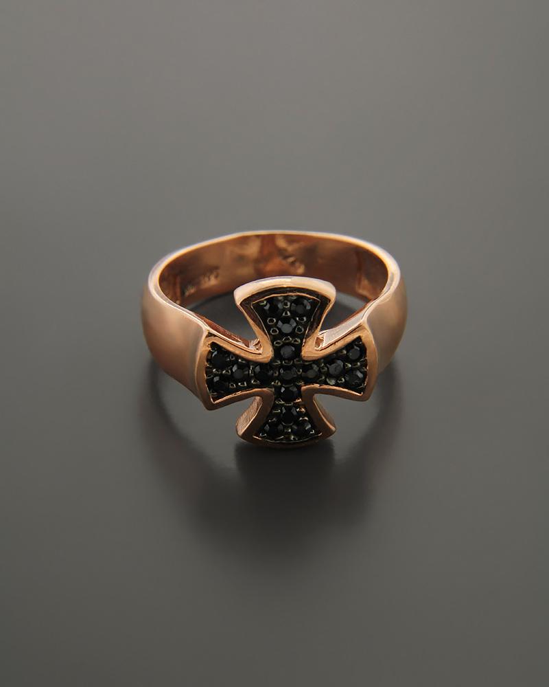 Δαχτυλίδι chevalier ροζ χρυσό Κ9 με Ζιργκόν   κοσμηματα δαχτυλίδια δαχτυλίδια chevalier