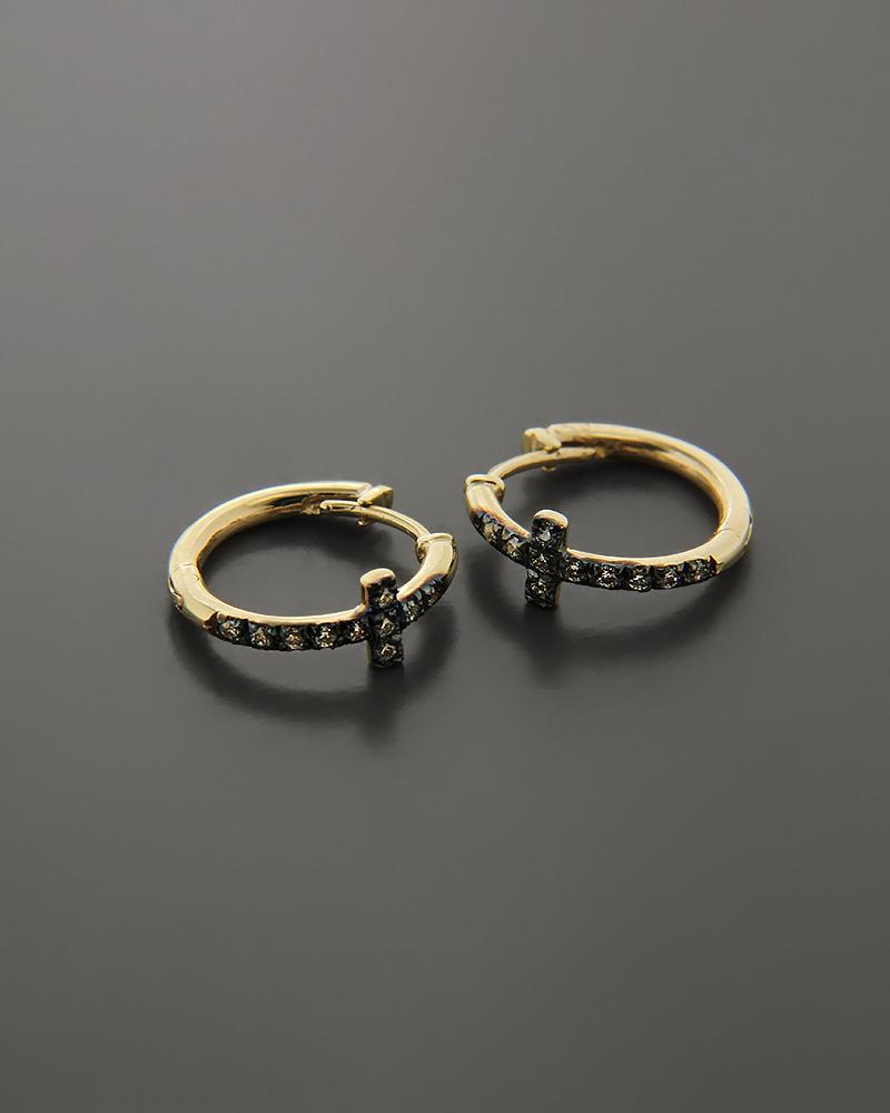 Σκουλαρίκια Κρίκοι χρυσά Κ9 με Ζιργκόν   νεεσ αφιξεισ κοσμήματα γυναικεία