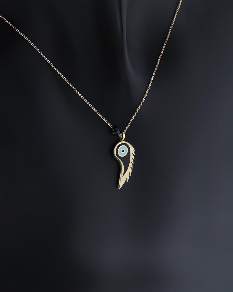 Κολιέ Ματάκι χρυσό Κ14 με Σμάλτο & Αιματίτη   κοσμηματα κοσμήματα με ματάκι