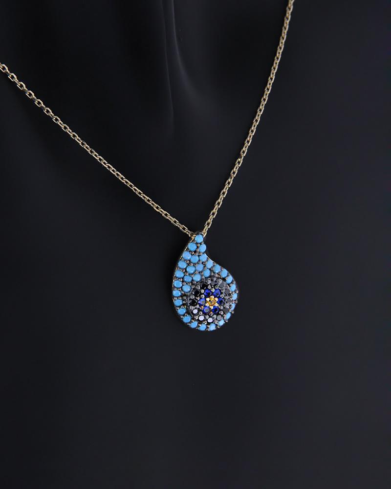 Κολιέ Ματάκι χρυσό Κ14 με Τυρκουάζ & Ζιργκόν   κοσμηματα κοσμήματα με ματάκι