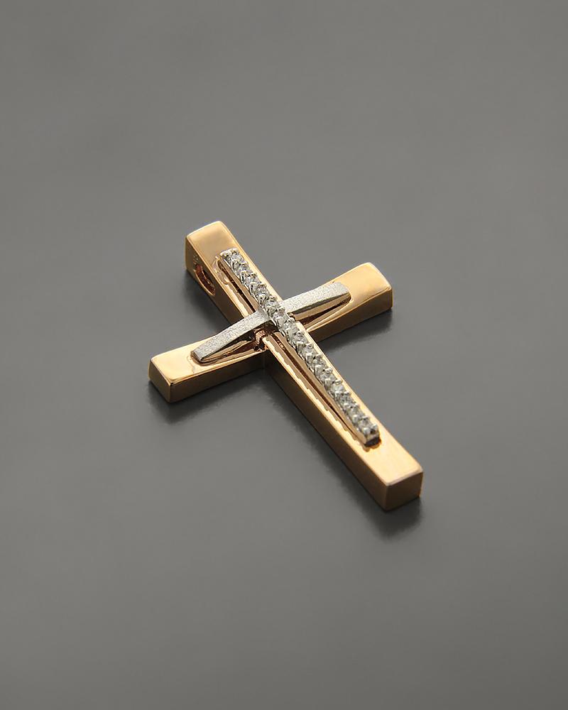Σταυρός βάπτισης από Ροζ Χρυσό & Λευκόχρυσο Κ14 με Ζιργκόν   κοσμηματα σταυροί σταυροί ροζ χρυσό