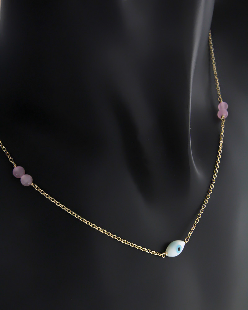 Κολιέ Ματάκι Χρυσό Κ9   κοσμηματα κοσμήματα με ματάκι