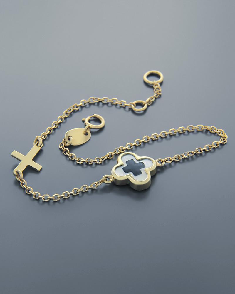 Βραχιόλι σταυρός χρυσό Κ9   γυναικα βραχιόλια βραχιόλια χρυσά