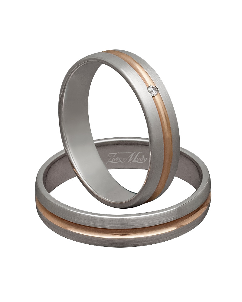 Βέρα χειροποίητη σε ροζ χρυσό & λευκόχρυσο με διαμάντι XV00279   ζησε το μυθο βέρες γάμου   αρραβώνα βέρες λευκόχρυσες