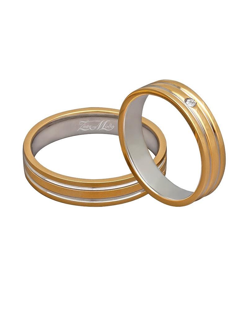 Βέρα χειροποίητη K14 σε χρυσό & λευκόχρυσο με διαμάντι XV00281   γαμοσ βέρες γάμου   αρραβώνα βέρες δίχρωμες