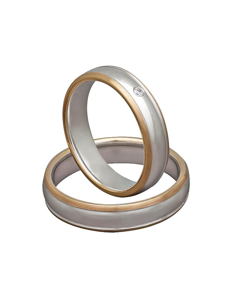 Βέρα χειροποίητη σε ροζ χρυσό & λευκόχρυσο με διαμάντι XV00299   γαμοσ βέρες γάμου   αρραβώνα βέρες δίχρωμες