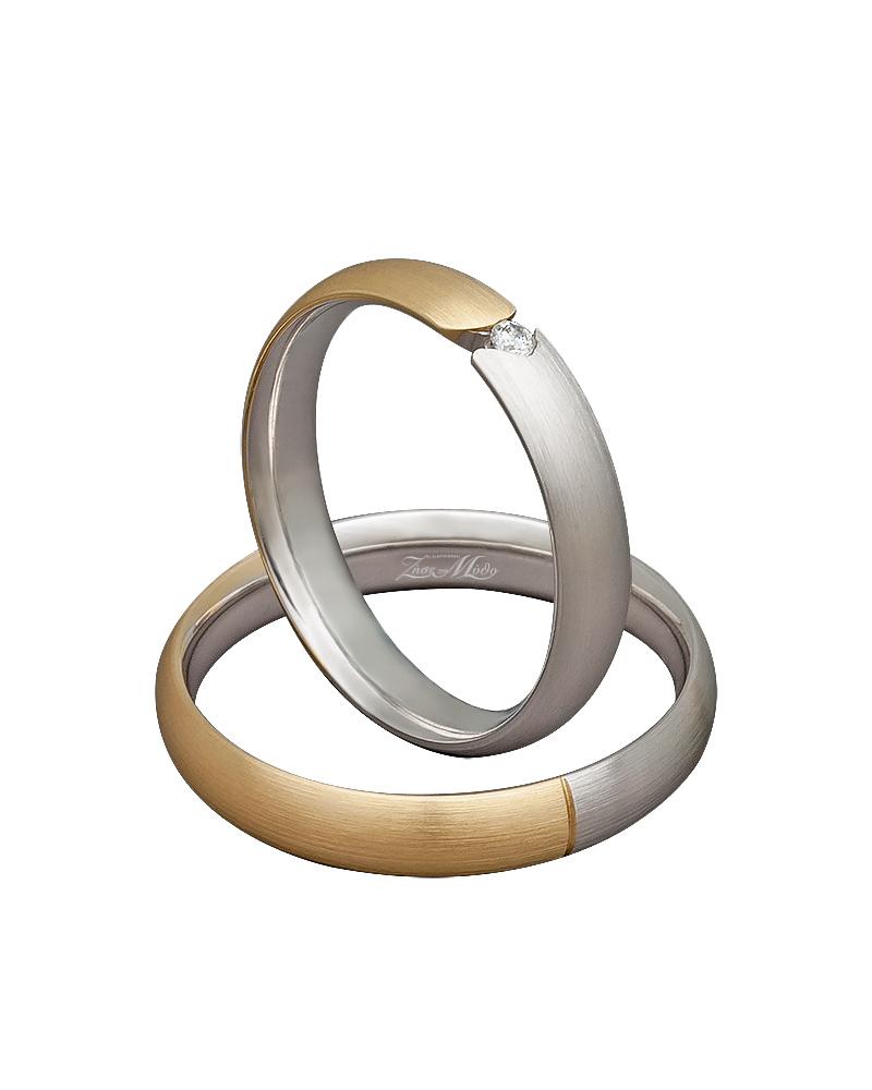 Βέρα χειροποίητη σε χρυσό & λευκόχρυσο με διαμάντι XV00300   γαμοσ βέρες γάμου   αρραβώνα βέρες δίχρωμες